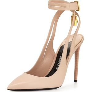 NWT TOM FORD Leather Ankle-Lock Pump Nude